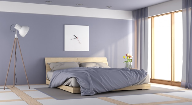 モダンな紫の寝室