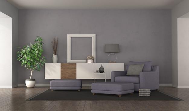 Современная фиолетовая гостиная с креслом, подставками для ног и буфетом. 3d рендеринг