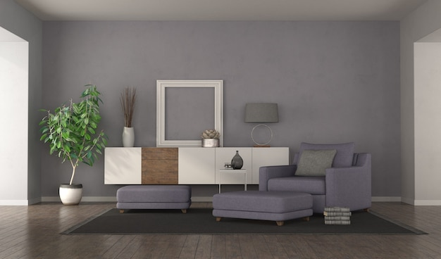 Modern purple living room with armchair,footstools and sideboard. 3d rendering