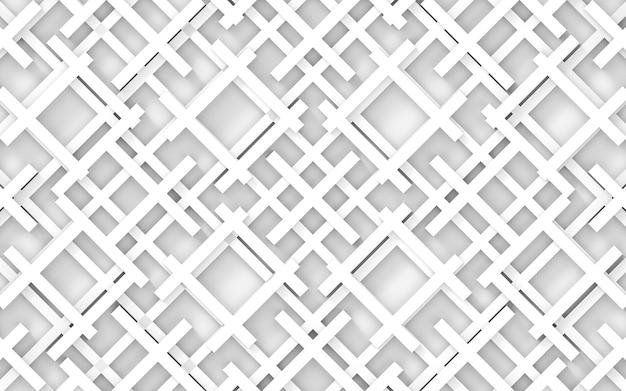 正方形のパターンの壁の背景に現代のランダムな白いバー。