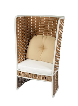 Modern rattan high back outdoor chair isolated on white background