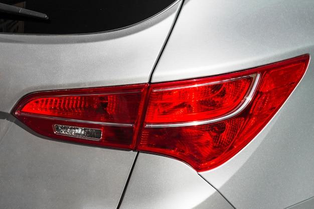 Modern rear light of silver automobile