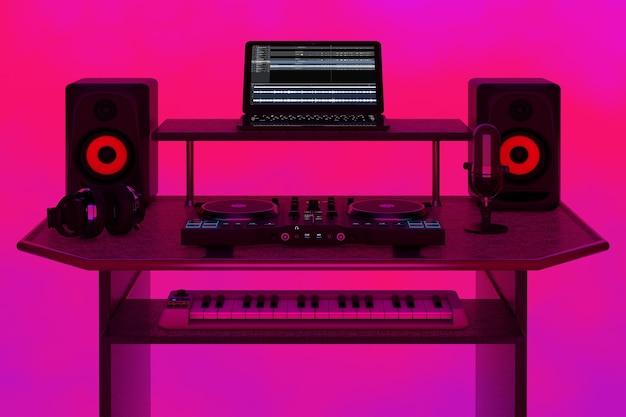 Современная домашняя студия записи музыки, рабочее место ди-джея с электронным оборудованием и инструментами на абстрактном розовом фоне. 3d рендеринг