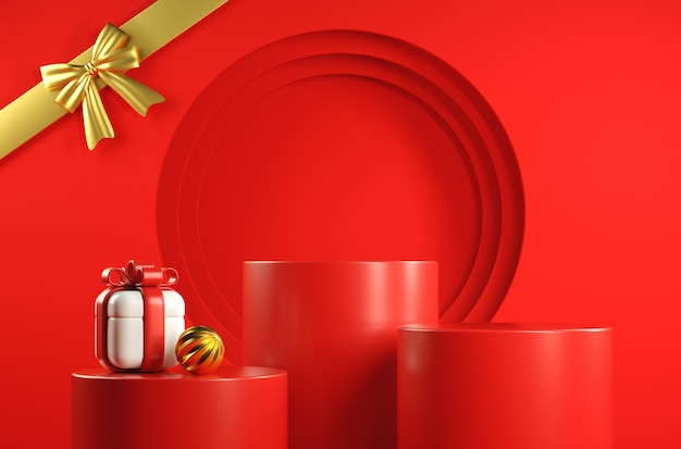 Modern red display set with gift box
