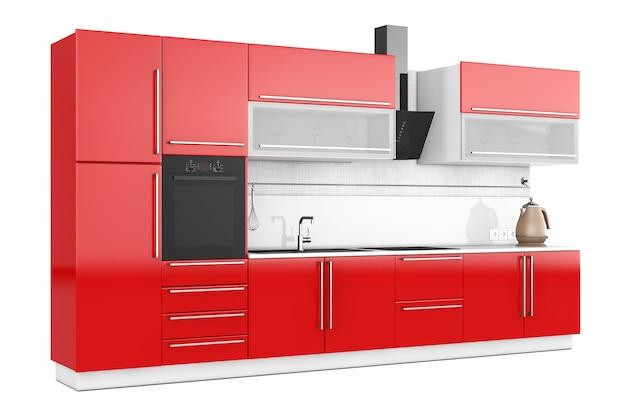 흰색 바탕에 주방이 있는 현대적인 레드 주방 가구. 3d 렌더링