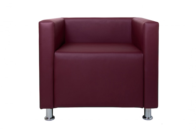 Modern red leather armchair with chromium plated legs isolated on white.