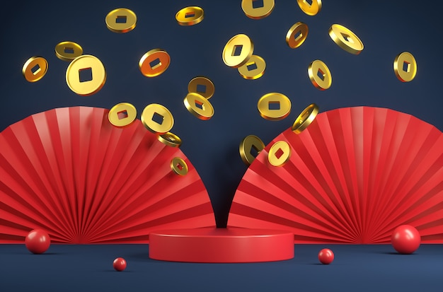 Modern red platform chinese new year concept with gold coin and paper fan abstract background 3d render