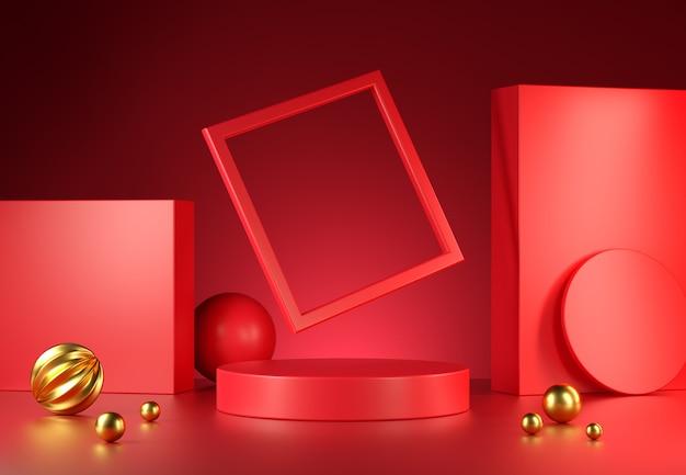 Modern red podium display set