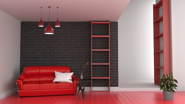 Modern red room interior, living room with red sofa and red floor of black brick wall