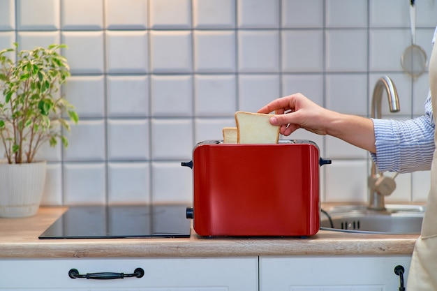 Modern red toaster for cooking toasts