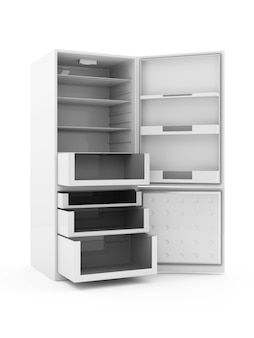 Modern refrigerator with opened doors isolated on white