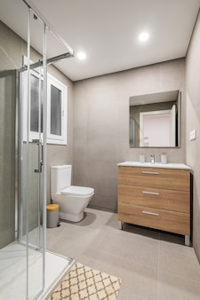 Modern refurbished bathroom with shower zone
