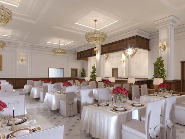 Modern restaurant interior, part of a hotel. 3d rendering