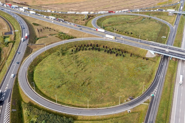 Modern roads, junctions and bridges. freeway from the top view. summer wroclaw poland