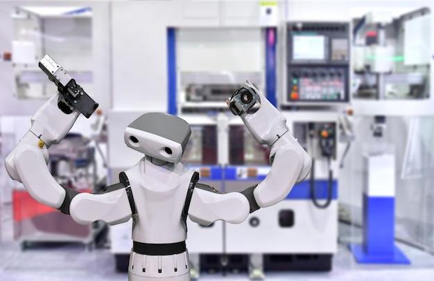 Современная роботизированная система машинного зрения на заводе концепция промышленного робота
