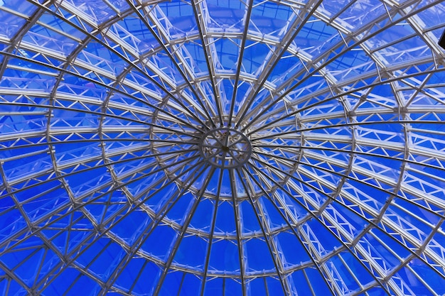 The modern roof of the dome. the geometrical pattern. the roof of the building.