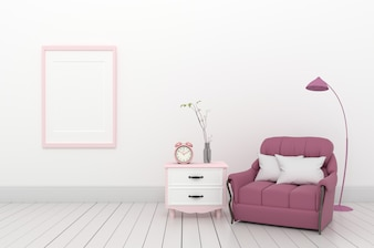 Modern room have pink sofa in open space with cabinet ,3D rendering