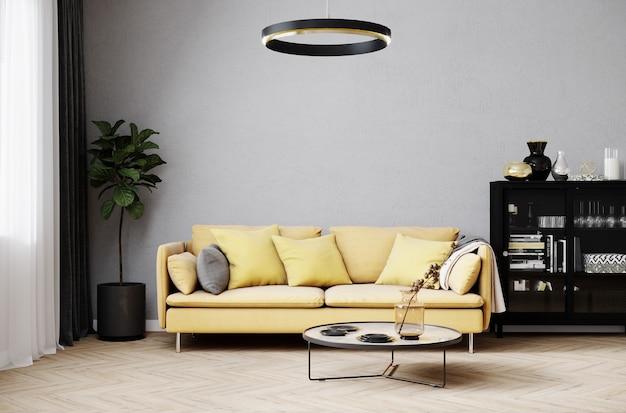 白い壁とスタイリッシュな黄色のソファとデザインのコーヒーテーブルとモダンな部屋のインテリアの背景