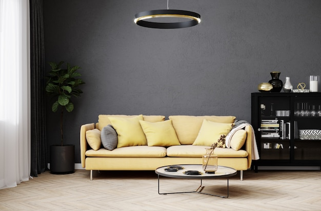 Modern room interior background with white wall and stylish yellow sofa and design coffee table
