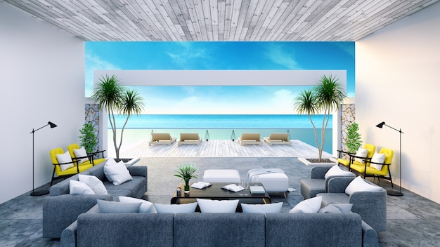 Modern room interior  near beach with  sky and sea view 3d rendering