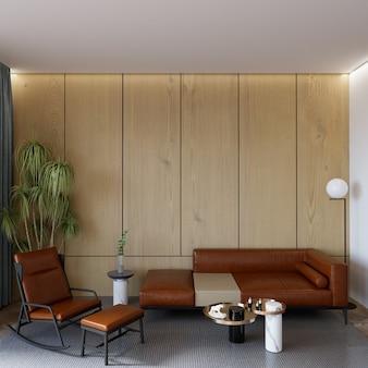 Современный интерьер комнаты с мебелью перед деревянной стеной