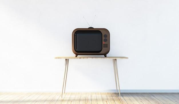 テーブルの上のレトロなヴィンテージテレビとモダンな部屋のインテリア