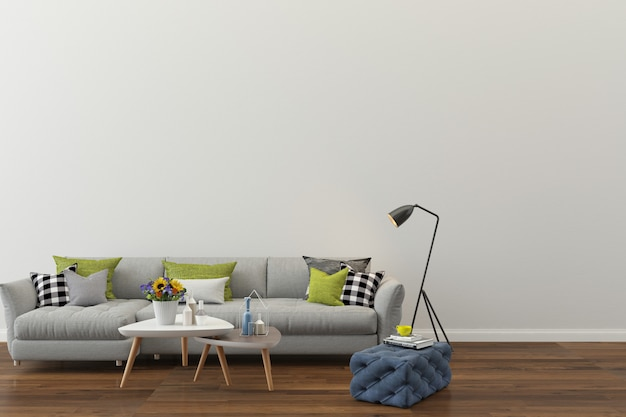 Modern room white wall texture background wood floor gray sofa