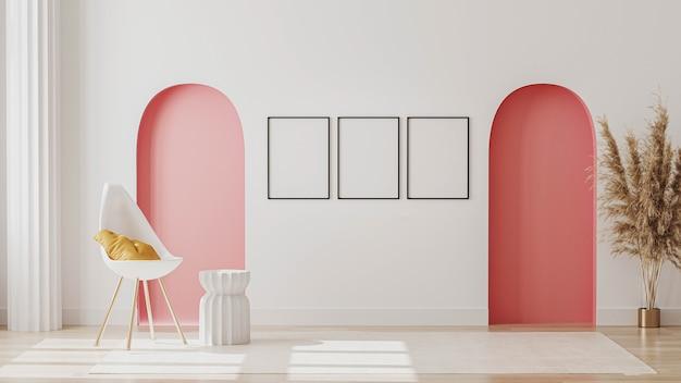 白い椅子と装飾が施されたモダンな客室