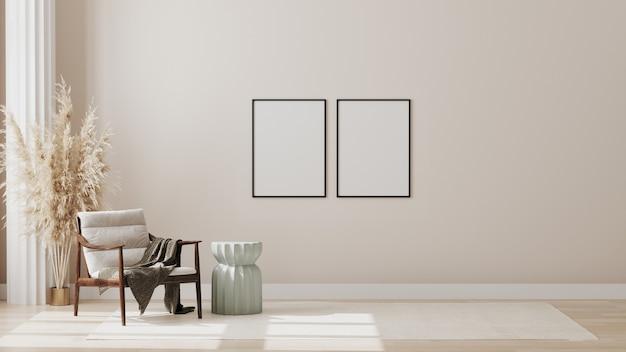 안락 의자와 장식이있는 현대적인 객실