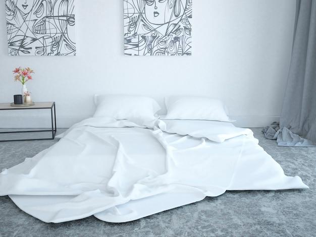 Современный номер с кроватью на мраморном полу.