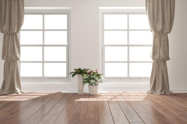 냄비 인테리어 디자인에 커튼과 식물이있는 현대적인 객실입니다.