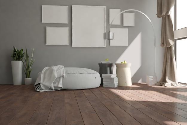 Современный номер с шторами, лампой, рамами, пуфом, книгами и растениями. дизайн интерьера.