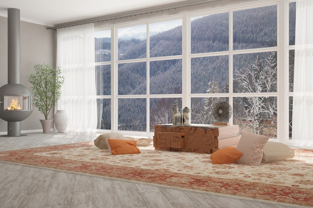 Modern room with fire place, table, pillows, plants, vase and curtains interior design.