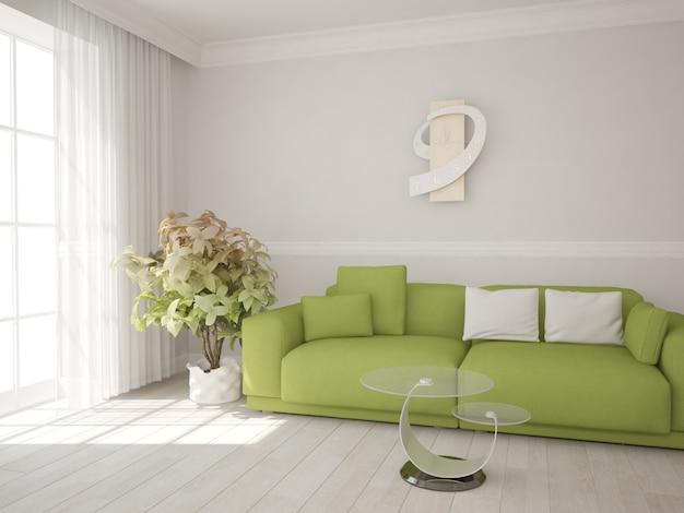 녹색 소파와 거울 테이블 인테리어 디자인을 갖춘 현대적인 객실입니다. 3d 일러스트레이션