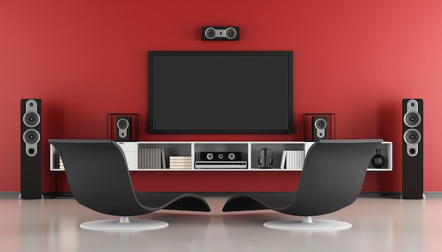Modern room with home cinema system