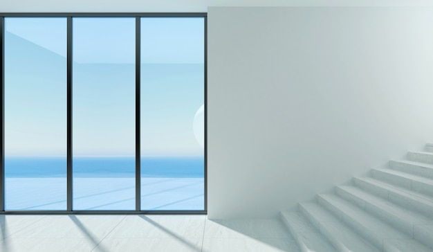 A modern room with panoramic window and sea view.