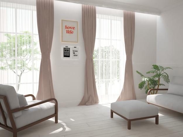 소파와 안락 의자 인테리어 디자인을 갖춘 현대적인 객실입니다. 3d 일러스트레이션