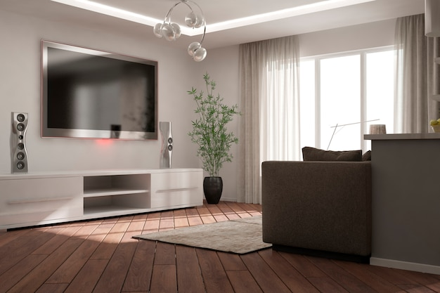 Modern room with sofa, tv set, lamp, cupboard, plant and curtains