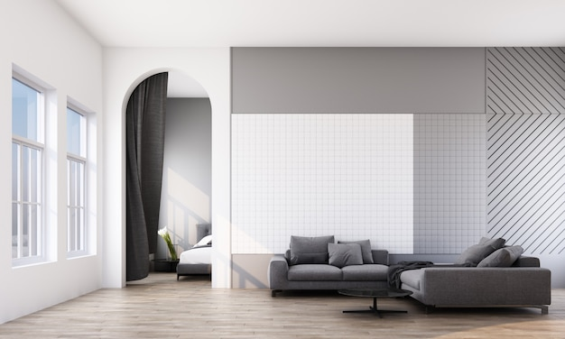 Modern room with sofa, window and arch