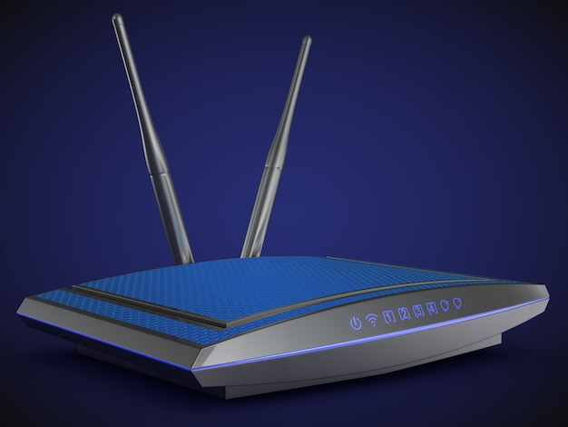 Modern router with blue light on a blue background.