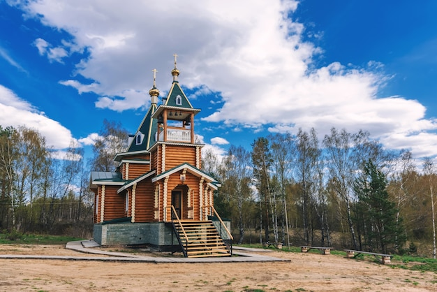 Modern rural wooden church of the christian orthodox religion in russia