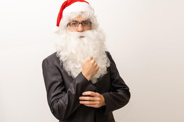 Modern santa claus in glasses, cool santa in suit