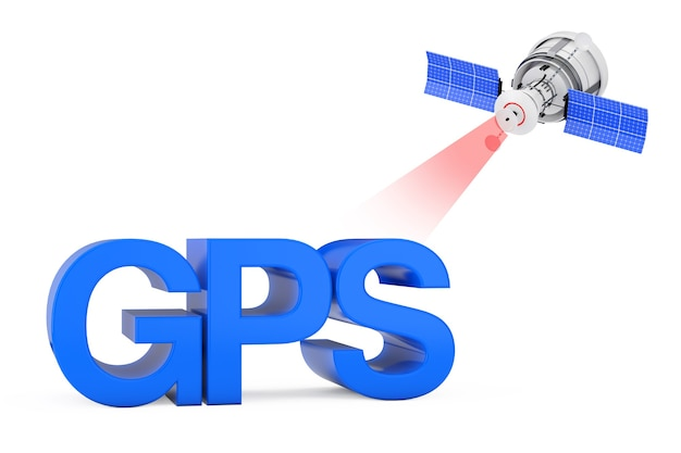 Современное спутниковое вещание к знаку gps на белом фоне. 3d рендеринг