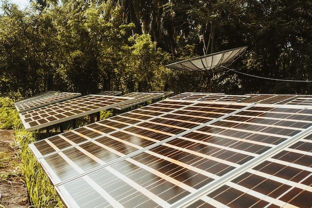 Современная спутниковая антенна и солнечные батареи в лесу джунглей. спутниковая антенна, спутниковая антенна, спутниковый ресивер