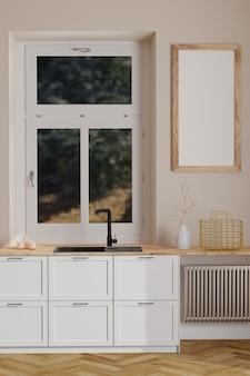 Современный скандинавский кухонный интерьер с окном и деревянной пустой рамкой на стене в минималистском интерьере