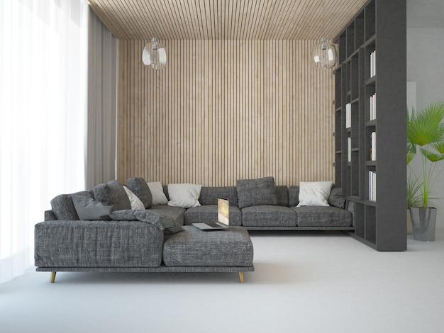 Modern scandinavian living room with wooden panels