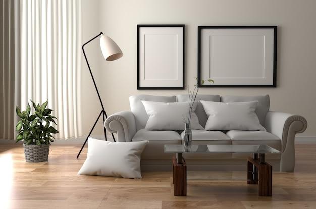 Modern scandinavian style. 3d rendering