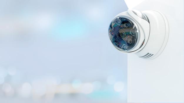 Современная охранная камера видеонаблюдения с датчиком движения. концепция наблюдения и безопасности, 3d визуализация.