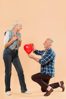 Modern senior couple with love concept