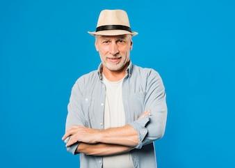 Modern senior man with hat